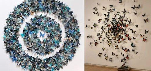 Бумажные бабочки в интерьере. Шаблон бабочки