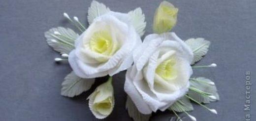 Гофрированные белые розы из ткани. Мастер-класс