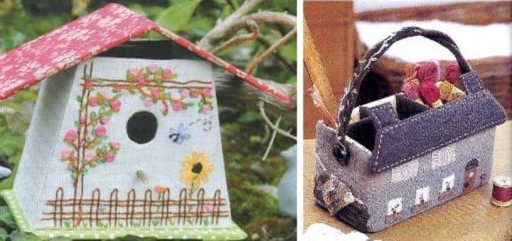 Корзинка ДОМИК для рукоделия и скворечник из картона и ткани