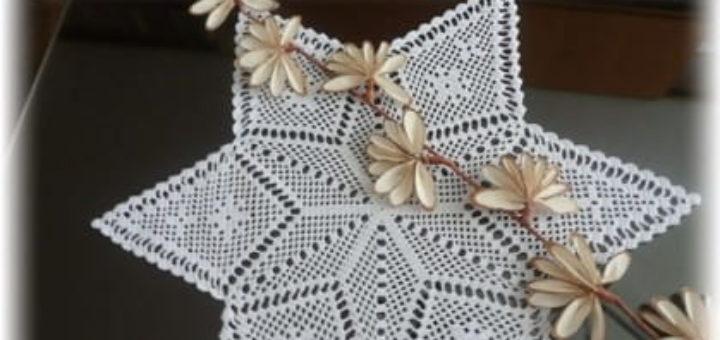 Красивая салфетка в форме звезды крючком