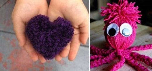 Осьминог, сердечко и куколка из ниток