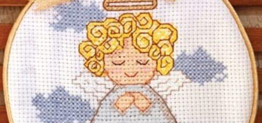 Панно с вышивкой ангела. Схема ангела