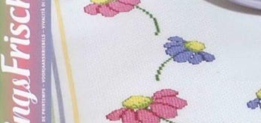 Схемы вышивки цветов для скатертей и салфеток