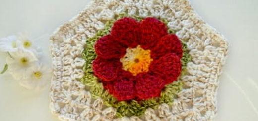 Цветочный фрагмент крючком для вязания салфетки. Схема