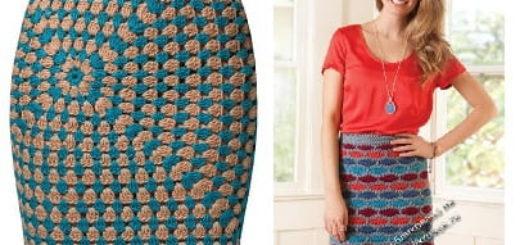 Вязание крючком. Две юбки столбиками с накидом