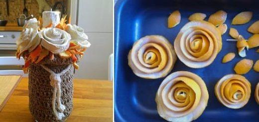 Розочки из апельсиновых корочек. Букет апельсиновых роз