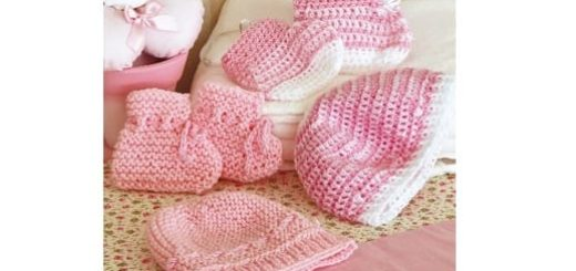 Вязание крючком шапочки и пинеток для новорожденного