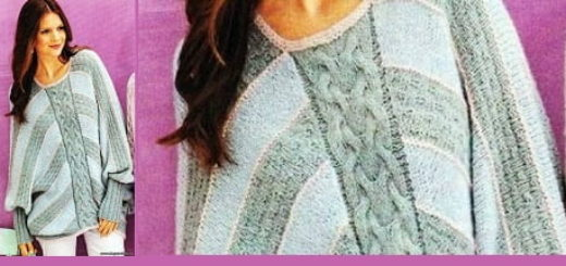 Вязание спицами. Пуловер - пончо