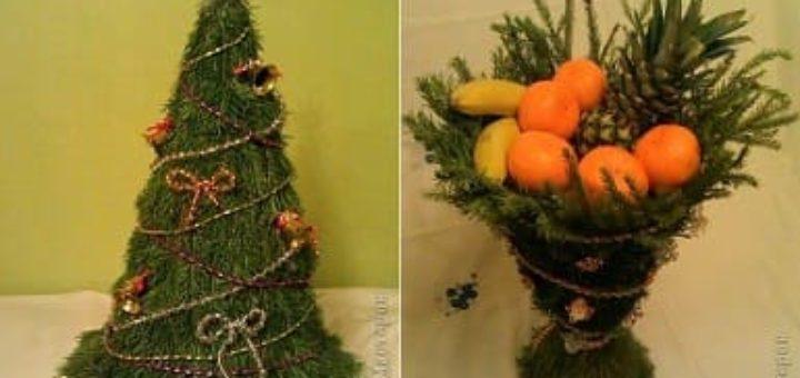 Декоративный бокал с сюрпризом, башмачок и елочка из еловых веточек