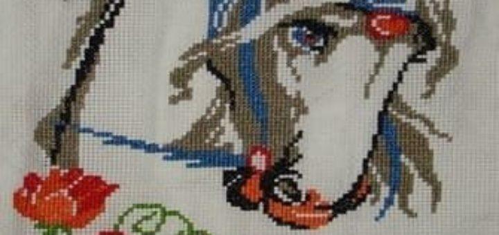 Лошадь в цветах. Схема вышивки