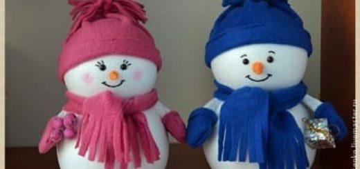 Снеговики из пенопластовых шариков. Мастер-класс