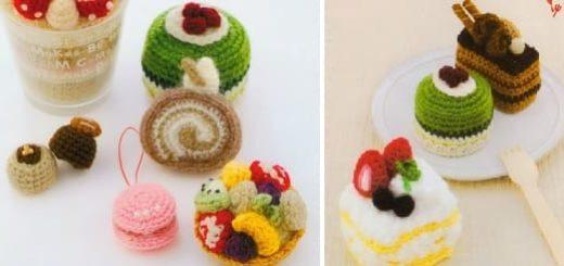 Вяжем крючком пирожные с десертом. Японская книжка со схемами