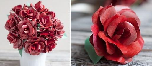 Розы из бумаги ко дню Святого Валентина