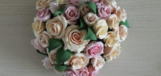 Розы из полимерной глины. СЕРДЦЕ ИЗ РОЗ