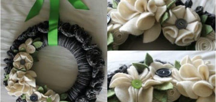 Венок из пряжи и цветочков из вискозных салфеток