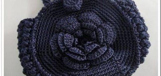 Вязание крючком. Сумочка с цветком