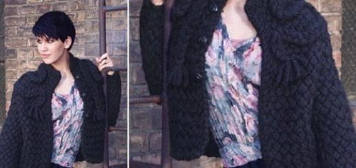 Жакет из толстой пряжи плетеным узором
