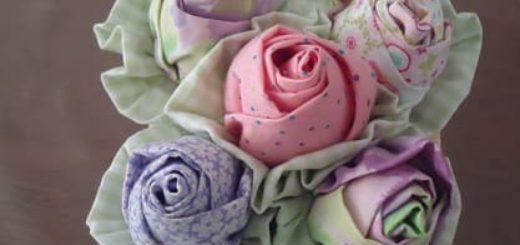 Корзинка с розочками из ткани