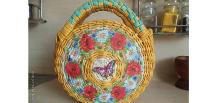 Плетение из газет. Сумочка для девочки