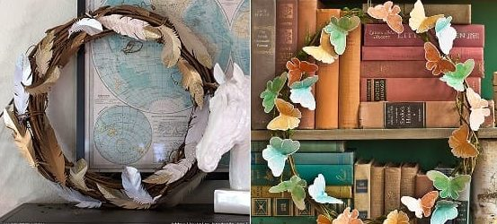 Украшаем интерьер венками с бабочками и перышками