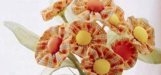 Весенние цветочки из ткани