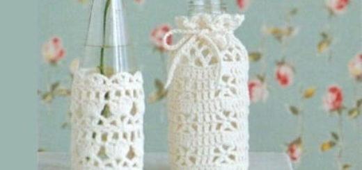 Вязание крючком. Вазочки и сумочка для бутылки