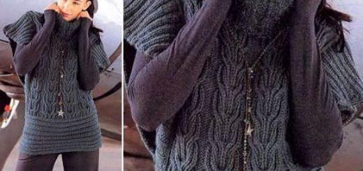 Вязание спицами. Теплая безрукавка