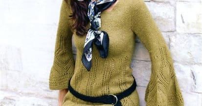 Вяжем спицами теплое платье. Две модели