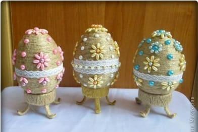 Пасхальные яйца из шпагата. Мастер-класс