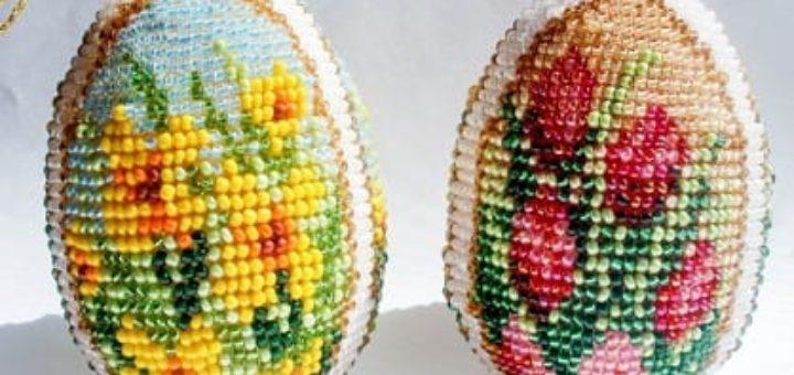 Бисерные цветочные пасхальные яйца