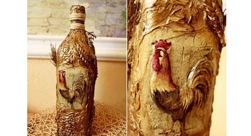 Декупаж бутылки в деревенском стиле