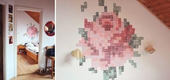 Креативная вышивка на стене