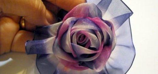 Нежная роза из шифона для украшения одежды