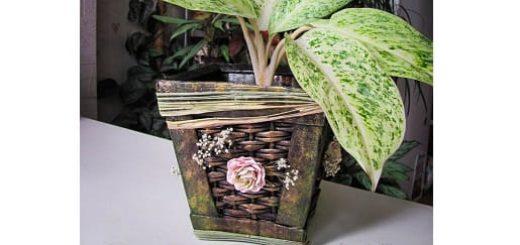 Плетение из газет и картон. Кашпо для цветов