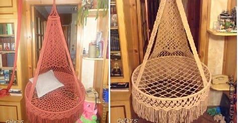 Подвесное кресло-гамак в технике макраме