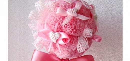 Розовый топиарий из бумажных салфеток
