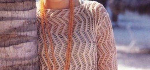 Летний воздушный пуловер спицами