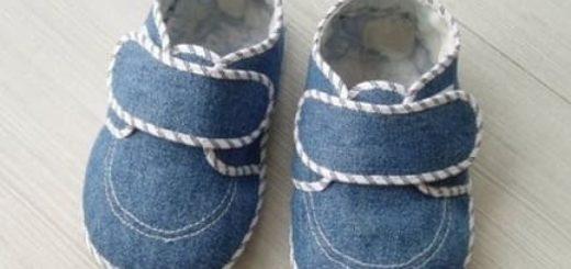 Шьем из старых джинсов тапочки и детские туфельки