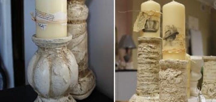 Гипсовые подсвечники в стиле Винтаж из пластиковых бутылок