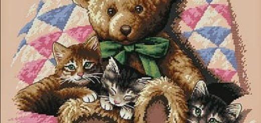Схема вышивки Медвежонок с Котятами