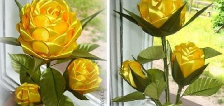 Цветы из лент. Красавица ЖЕЛТАЯ РОЗА