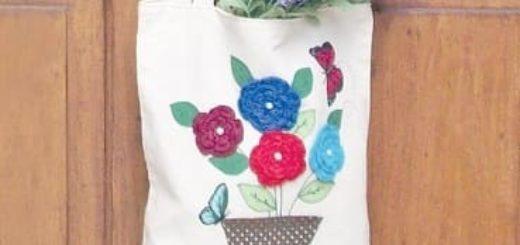 Цветы крючком для украшения сумки