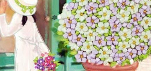 Вышивка лентами по декорированному холсту