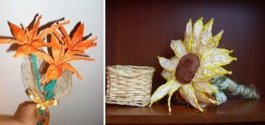 Оранжевые лилии из бумажной рафии