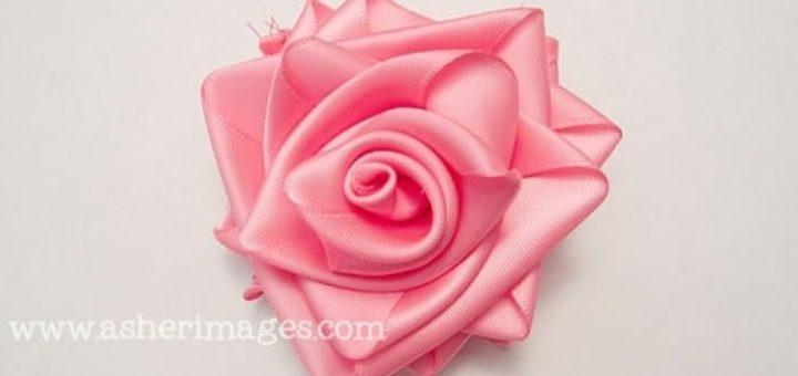 Роза из широкой атласной ленты. Мастер-класс