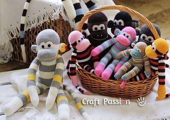 Шьем игрушки из носков - забавные ОБЕЗЬЯНКИ