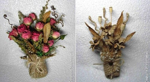 Букетик цветов из мешковины, шпагата и кофейных зерен