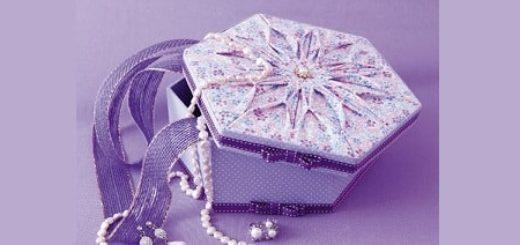 Декорирование коробочки тканью узором в технике оригами