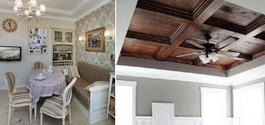Кухня-столовая в стиле прованс и как сделать деревянный потолок своими руками