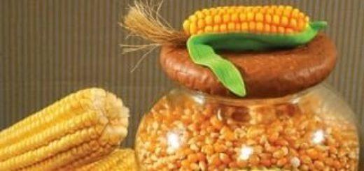 Кукуруза из полимерной глины для декорирования баночки